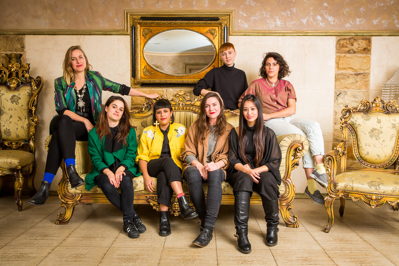 Left to right: Kate Blackmore, Jade Muratore, Claudia Nicholson, Natalie Randall, Emily O'Connor Maria Tran, and Zoe Scoglio, image courtesy and © the artists, photograph: Anna Kučera